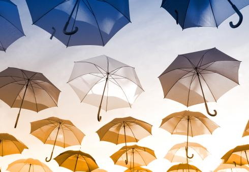 Free Stock Photo of Colorful Umbrellas Hanging in the Air