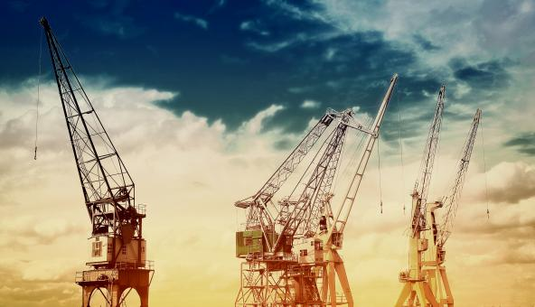 Free Stock Photo of Cranes at Port