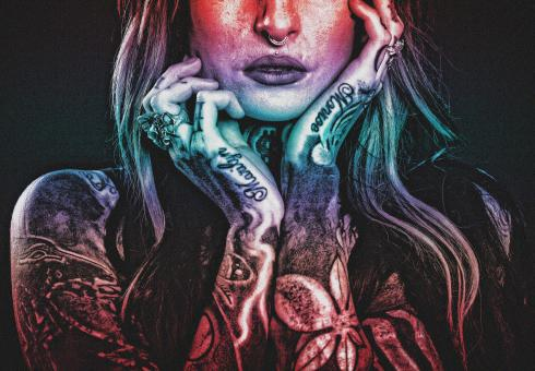 Free Stock Photo of Tattooed Woman - Grunge Noisy Looks