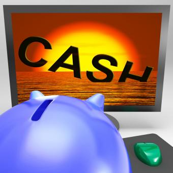 Free Stock Photo of Cash Sinking On Monitor Showing Monetary Crisis