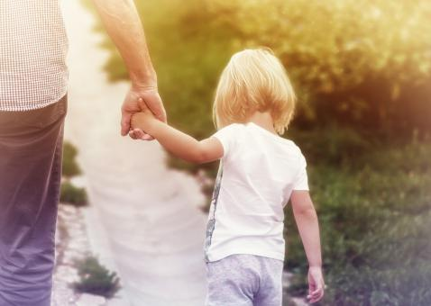 Free Stock Photo of Father Holding Hands with Little Daughter