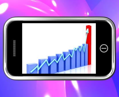 Free Stock Photo of Arrow Rising On Smartphone Shows Progress Chart