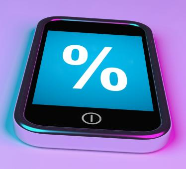 Free Stock Photo of Percent Sign On Phone Shows Percentage Discount Or Investment