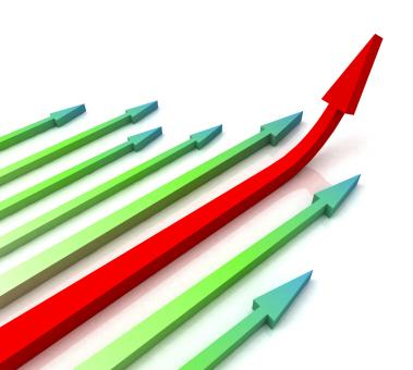 Free Stock Photo of Red Right Arrow Ahead Shows Growth