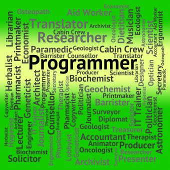 Free Stock Photo of Programmer Job Indicates Words Occupation And Occupations