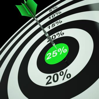 Free Stock Photo of 25 Percent On Dartboard Showing Twenty-Five Percent Off