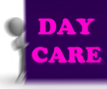 Free Stock Photo of Day Care Placard Shows Day Care Centre