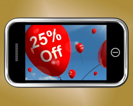 Free Stock Photo of Mobile With 25% Off Sale Discount Balloon