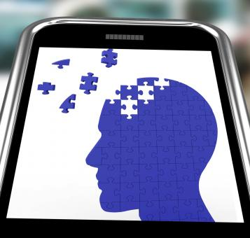 Free Stock Photo of Head Puzzle On Smartphone Shows Smartness
