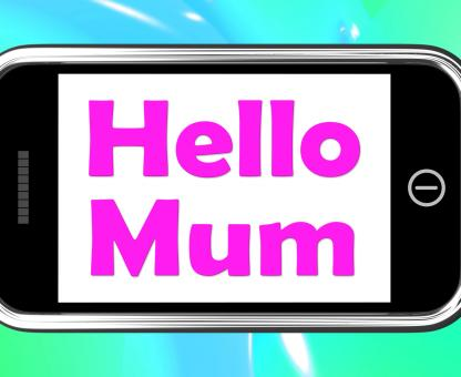 Free Stock Photo of Hello Mum On Phone Shows Message And Best Wishes