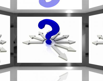 Free Stock Photo of Question Mark On Screen Shows Questions TV Show