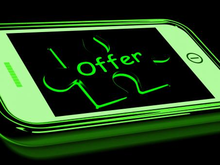 Free Stock Photo of Offer On Smartphone Shows Online Special Discounts