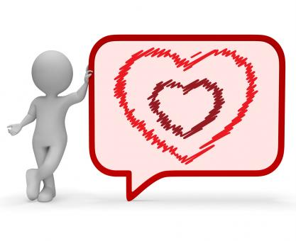 Free Stock Photo of Heart Speech Bubble Represents Valentine Day 3d Rendering