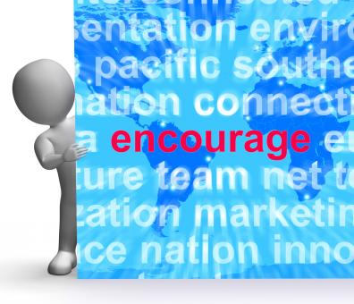Free Stock Photo of Encourage Word Cloud Sign Shows Promote Boost Encouraged