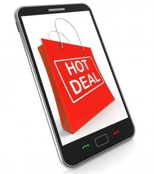 Free Stock Photo of Hot Deal On Shopping Bags Shows Bargains Sale And Save