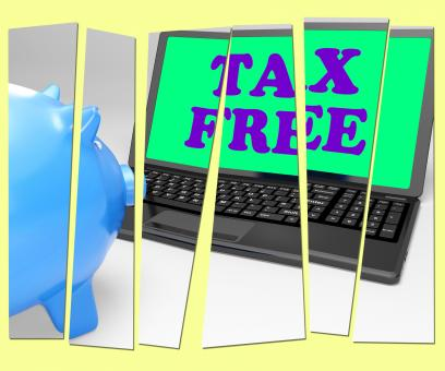 Free Stock Photo of Tax Free Piggy Bank Shows Goods In No Tax Zone