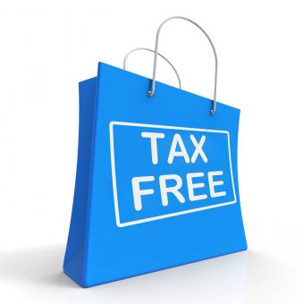 Free Stock Photo of Tax Free Shopping Bag Shows No Duty Taxation