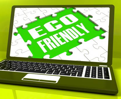 Free Stock Photo of Eco Friendly Laptop Shows Green And Environmentally Efficient