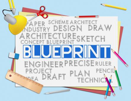 Free Stock Photo of Blueprint Words Means Designer Design And Architectural