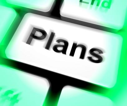 Free Stock Photo of Plans Keyboard Shows Objectives Planning And Organizing