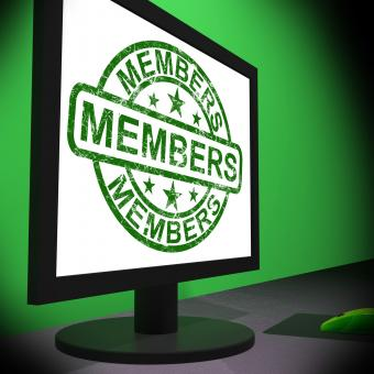 Free Stock Photo of Members Computer Shows Membership Registration And Internet Subscribin