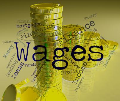Free Stock Photo of Wages Word Shows Earn Income And Salary