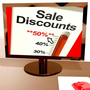 Free Stock Photo of Fifty Percent Sale Discounts Showing Online Bargains