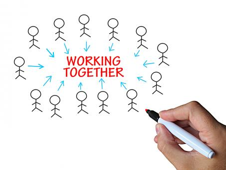 Free Stock Photo of Working Together On Whiteboard Shows Group Work And Partnership
