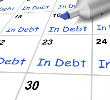 Free Stock Photo of In Debt Calendar Shows Borrowed Money Owed