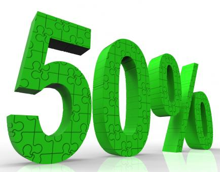Free Stock Photo of 50 Sign Shows Sales Discount And Promotions
