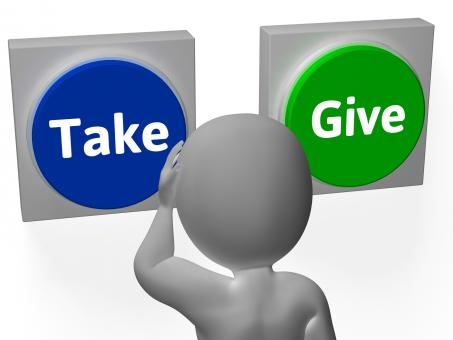 Free Stock Photo of Take Give Buttons Show Compromise Or Negotiation