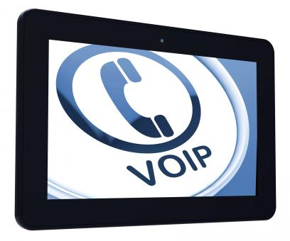 Free Stock Photo of Voip Tablet Means Voice Over Internet Protocol Or Broadband Telephony