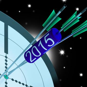 Free Stock Photo of 2015 Accurate Dart Target Shows Successful Future