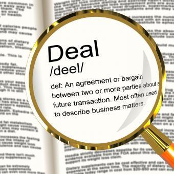 Free Stock Photo of Deal Definition Magnifier Showing Agreement Bargain Or Partnership
