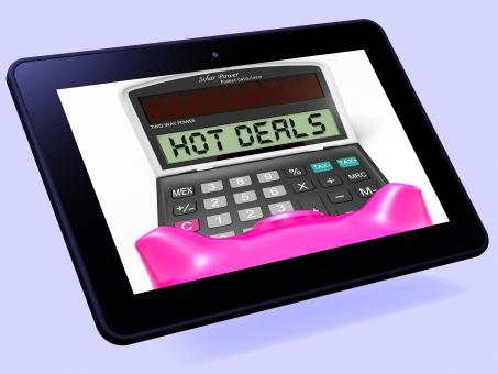 Free Stock Photo of Hot Deals Calculator Tablet Shows Promotional Offer And Savings