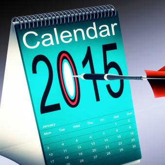 Free Stock Photo of 2015 Calendar Shows Future Target Plan