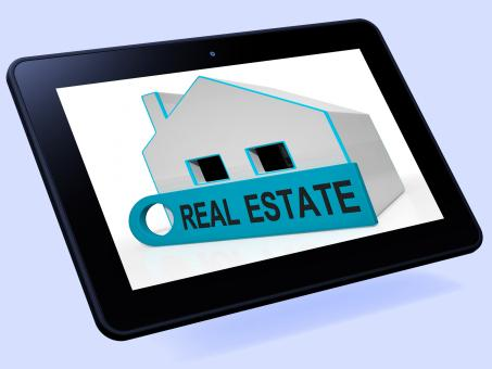 Free Stock Photo of Real Estate House Tablet Means Homes Or Buildings On Property Market