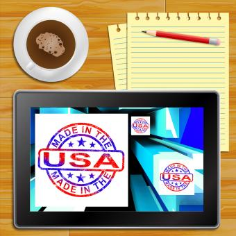 Free Stock Photo of Made In The USA On Cubes Showing Patriotism Tablet