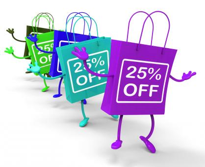 Free Stock Photo of Twenty-five Percent Off On Colored Shopping Bags Show Bargains