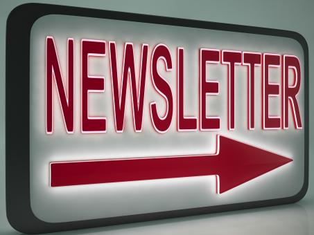 Free Stock Photo of Newsletter Sign Shows Online News
