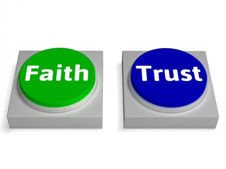 Free Stock Photo of Faith Trust Buttons Shows Trusting Or Believing