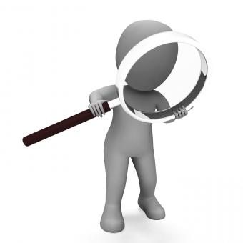 Free Stock Photo of Looking Magnifier Character Shows Examining Scrutinize And Scrutiny