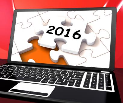 Free Stock Photo of Two Thousand And Sixteen On Laptop Shows New Years Resolution 2016