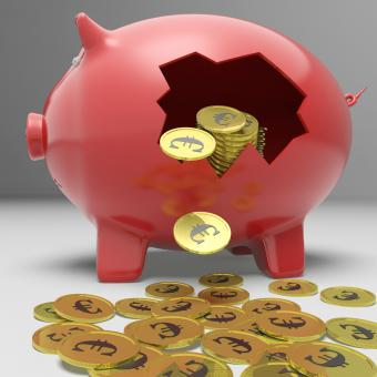 Free Stock Photo of Broken Piggybank Showing European Savings