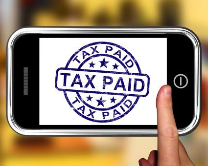 Free Stock Photo of Tax Paid On Smartphone Shows Payment Confirmation