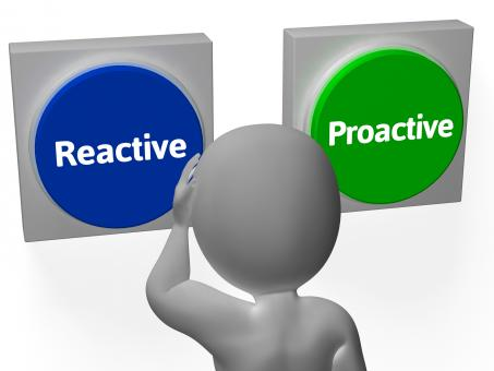 Free Stock Photo of Reactive Proactive Buttons Show Taking Charge Or Inaction