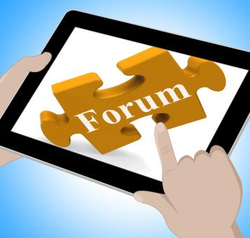 Free Stock Photo of Forum Tablet Shows Internet Discussion And Exchanging Ideas
