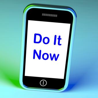 Free Stock Photo of Do It Now On Phone Shows Act Immediately