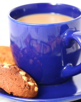 Free Stock Photo of Cup Of Coffee And A Couple Of Cookies