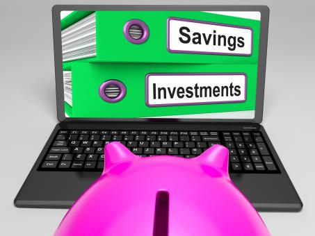 Free Stock Photo of Savings And Investments Files On Laptop Showing Finances